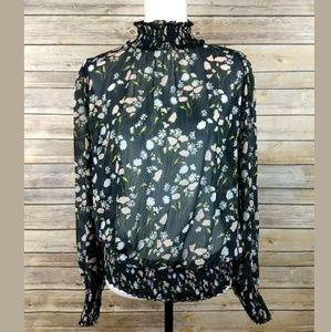 Zara Basic Floral Sheer Smocked High Neck Top